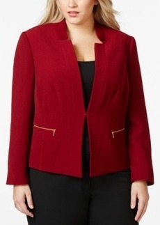 Tahari Asl Plus Size Textured Zip-Pocket Jacket