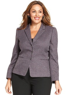 Tahari ASL Plus Size Three-Button Checkered Blazer