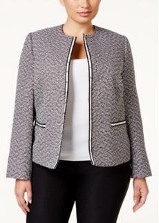 Tahari Asl Plus Size Tweed Studded Jacket