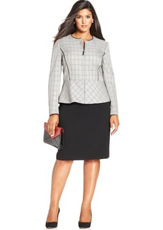 Tahari ASL Plus Size Zip-Front Plaid Jacket Skirt Suit
