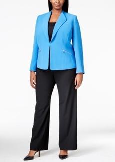 Tahari Asl Plus Size Zip-Pocket Crinkle Jacket