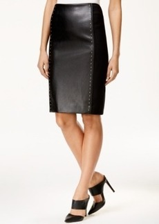 Tahari Asl Ponte Faux-Leather Panel Skirt