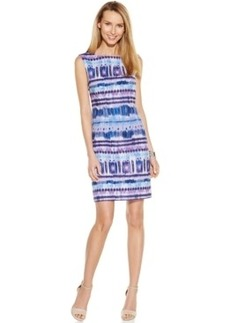 Tahari Asl Printed Linen-Blend Sheath Dress