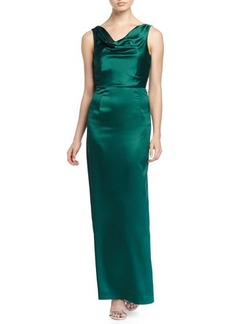Tahari ASL Sahari Satin Gown with Lace Back