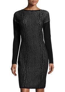 Tahari Sarah Snake-Print Sheath Dress