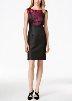 Tahari Asl Satin Jacquard Sheath Dress
