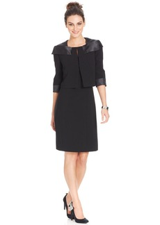 Tahari ASL Satin-Trim Bolero Dress Suit