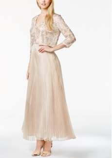 Tahari Asl Sequined Pleated Gown and Jacket