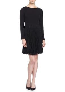 Tahari Shaari Long-Sleeve Knit Dress w/Pleated Chiffon Overlay