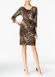 Tahari Asl Side-Wrap Animal-Print Dress