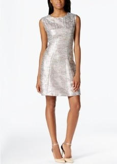Tahari Asl Sleeveless Metallic Boucle Fit-and-Flare Dress