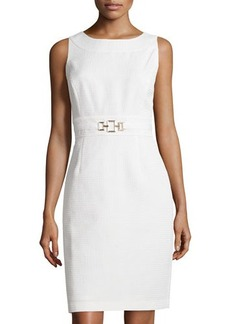 Tahari ASL Sleeveless Sheath Dress W/Metallic Buckle