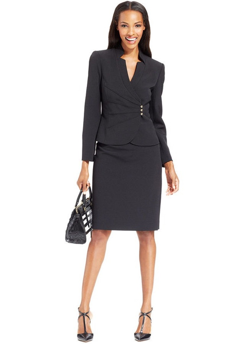 Women's Plus Size Single-Breasted Skirt Suit