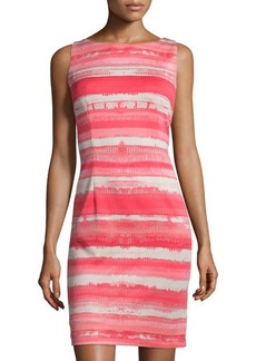 Tahari ASL Striped Scuba Sleeveless Sheath Dress