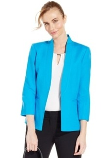 Tahari Asl Three-Quarter-Sleeve Linen-Blend Blazer