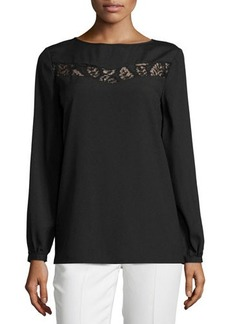 Tahari Tracey Long-Sleeve Blouse w/Lace Trim