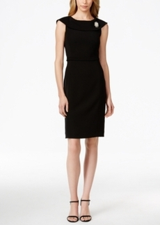 Tahari Asl V-Back Belted Brooch Dress