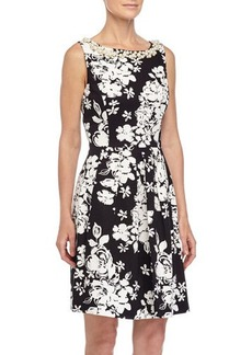 Tahari ASL Valerie Floral-Print Bead-Trim Dress