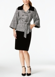 Tahari Asl Velvet-Collar Belted Wrap Jacket