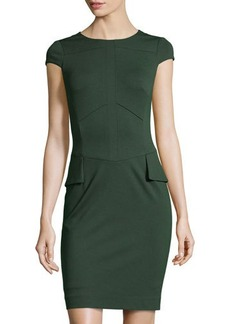 Tahari Wanda Cap-Sleeve Peplum Ponte Dress