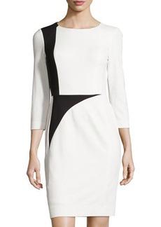 Tahari ASL Willow Colorblock 3/4-Sleeve Sheath Dress