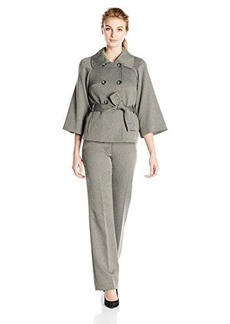Tahari ASL Women's Blair Pant Suit, Grey/Black, 4
