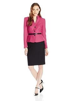 Tahari ASL Women's Doreen Skirt Suit, Electric Pink/Black, 10