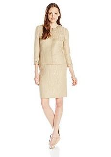 Tahari ASL Women's Francine Skirt Suit, Champagne, 14
