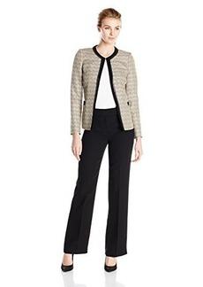 Tahari ASL Women's Jenny Pant Suit, Sand/White/Black, 18