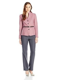Tahari ASL Women's Julie Pant Suit, Antique Pink/Grey, 10