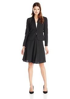 Tahari ASL Women's Kristal Skirt Suit, Black/White, 18