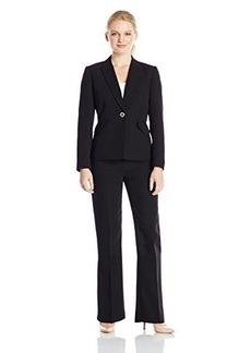 Tahari ASL Women's Petite Aaron Pant Suit, Black, 4/Petite