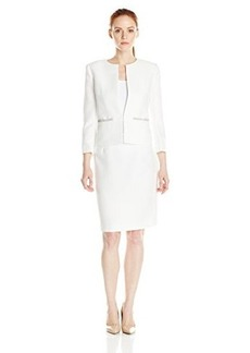 Tahari ASL Women's Petite Bryon Skirt Suit, Ivory, 0/Petite