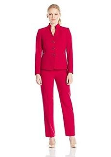 Tahari ASL Women's Petite Pete Pant Suit, Red, 4/Petite