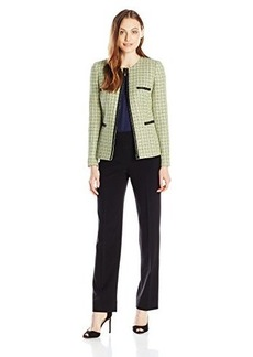 Tahari ASL Women's Rosa Pant Suit, Lime/Grey/Black, 10
