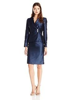 Tahari ASL Women's Salli Skirt Suit, Midnight Blue, 18