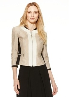 Tahari Asl Zip-Front Colorblocked Jacket