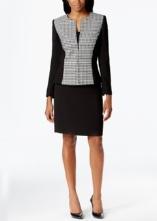 Tahari Asl Zip-Front Houndstooth-Panel Skirt Suit
