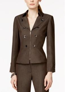 Tahari Asl Zip-Front Peplum Jacket