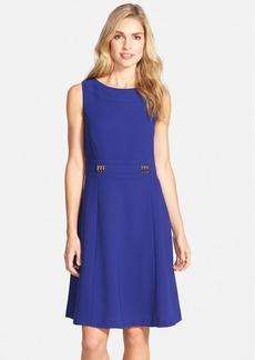 Tahari Bar Detail Sleeveless Fit & Flare Dress (Regular & Petite)