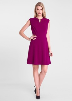 Tahari Bar Detail Stretch Fit & Flare Dress (Petite)
