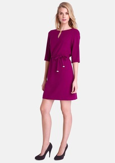 Tahari Bar Neck Belted Shift Dress