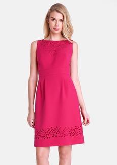 Tahari Bateau Neck Laser Cut Ponte Sheath Dress