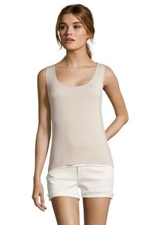 Tahari beige and white stretch 'Adonis' sleeveless knit top