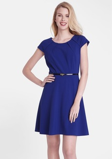 Tahari Belted Crepe Fit & Flare Dress (Regular & Petite)