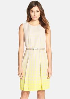Tahari Belted Dot Print Fit & Flare Dress
