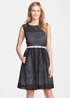 Tahari Belted Eyelet Fit & Flare Dress