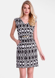 Tahari Belted Geo Print Jersey Sheath Dress