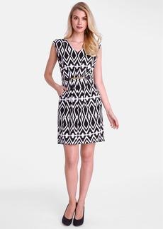 Tahari Belted Geo Print Jersey Sheath Dress (Petite)