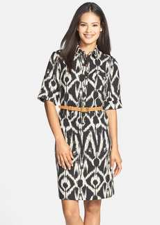 Tahari Belted Ikat Print Shirtdress (Regular & Petite)